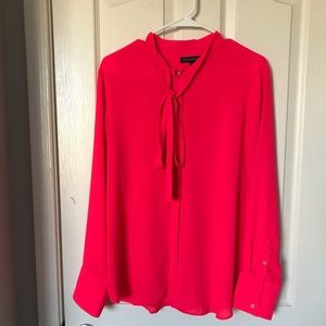 Bright Pink Tie Neck Blouse